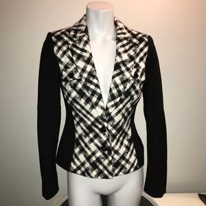 WHBM Plaid Checkered Tweed Houndstooth Blazer SZ 2